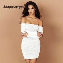 f966feb75 Celeb Off Shoulder Fall Dress White Women Classy Black Bodycon Mini Party  Dress Club Wear Wear