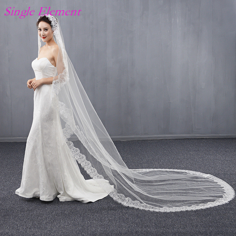 Long Lace Edge Bridal Veils 3m Wedding Exquisite Ivory Veil Sweep Train 2017 Accessory