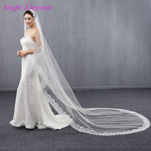 Long Lace Edge Bridal Veils 3m Wedding Exquisite Ivory Veil Sweep Train 2017 Accessory