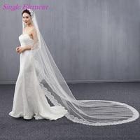 Long Lace Edge Bridal Veils 3m Wedding Veils Exquisite Lace Ivory Bridal Veil Sweep Train 2017 Wedding Accessory