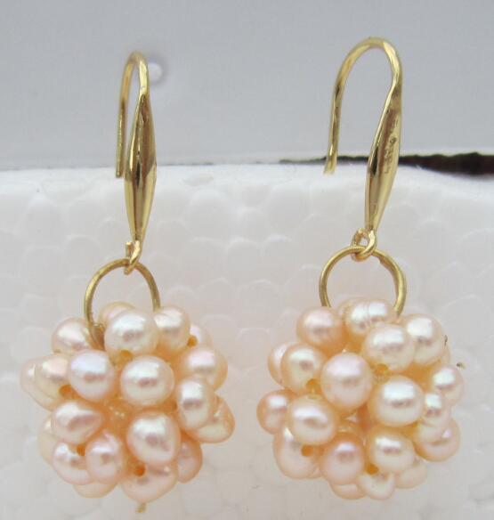 huge hand wovennatural AAA+ south sea pink pearl dangle earrings 14 Gold