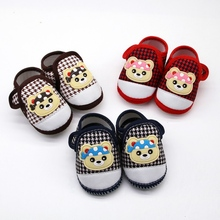 Baby Boy Girl First Walking Shoes Cartoon Bear Anti-Slip Shoes Casual Plaid Shoe Toddler Soft Soled First Walkers cheap WEIXINBUY CN(Origin) Cotton Fabric Shallow All seasons Hook Loop Animal Prints Unisex Fits true to size take your normal size