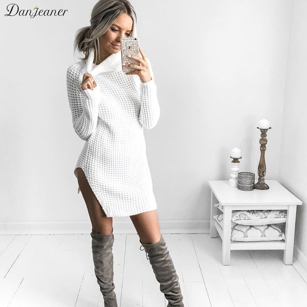 Danjeaner Vestidos De Festa Autumn Winter Women Turtleneck Sexy Split Sweater Dress Female Knitting Mini Party Dress