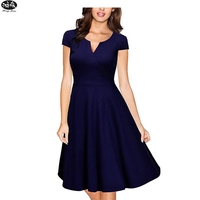 2018 New Autumn Winter Fashion Women Dress Formal V Neck Casual Office Wear Working Knee Length