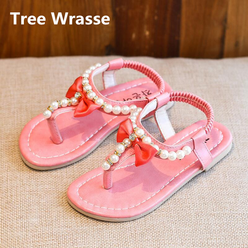 baaeb408edf3 Children Bowtie Sandals Summer New Kids Pearl Flip Flop Breathable Princess  Sandals Baby Girls Elastic Flats Single Shoes-in Sandals from Mother   Kids  on ...