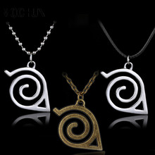 Japan Hot Anime Cartoon Naruto Leaf Symbol Necklace Cosplay Statement Pendant Necklace for Women Men Jewelry Accessories-A50