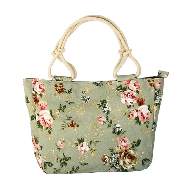 2018 Fashion Folding Women Big Size Handbag Tote Ladies Casual Flower Printing Canvas Graffiti Shoulder Bag Beach Bolsa Feminina 1