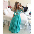 2016 Vestidos  Chiffon Floor Length Appliques Handmade Customized Long Elegant Women Long Sleeve Prom Dresses Party Chiffon