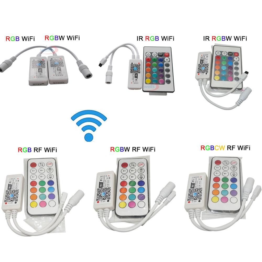 DC12-24V Mini RGB RGBW RGBCW WIFI LED Strip controller IR RF remote Music Time 3ch 4ch 5ch 5V WIFI Strip controller by phone AP dc12 24v wireless wifi led rgb rgbw controller rf remote control ios android smart phone wireless for rgbcw rgbww rgbled strip