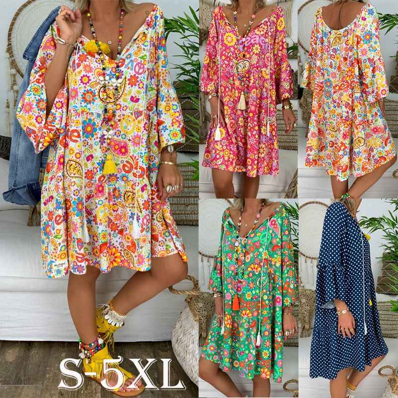 Women Boho Summer Floral Long Sleeve Casual Dress Lady 2019 V Neck Vintage Holiday Beach Mini Shirt Dress Loose 4 Styles S-5XL