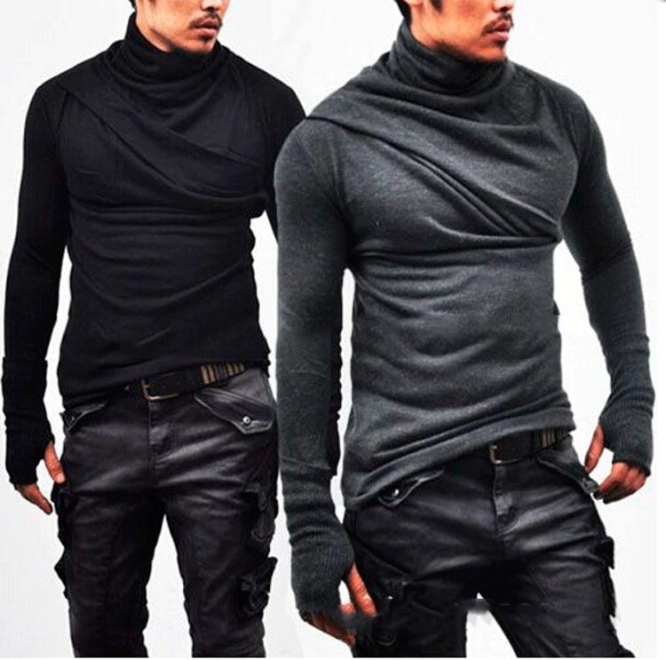 Titmsny T-Shirts Turtleneck Skinny Tees Men Camisetas