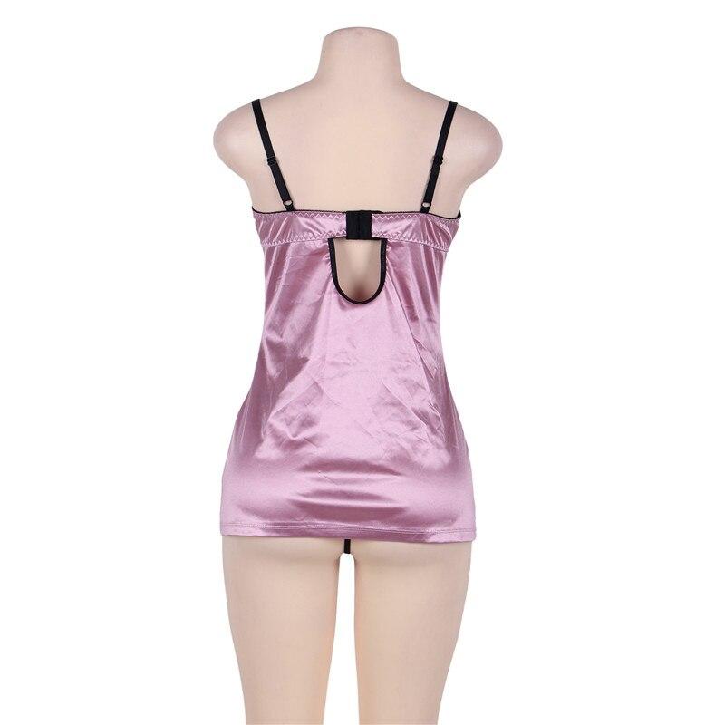 24d8cb76f Satin sleepwear plus size rose red sexy nightdress bra pad women lingerie  lenceria femenina with panty sexy night wear RW80394