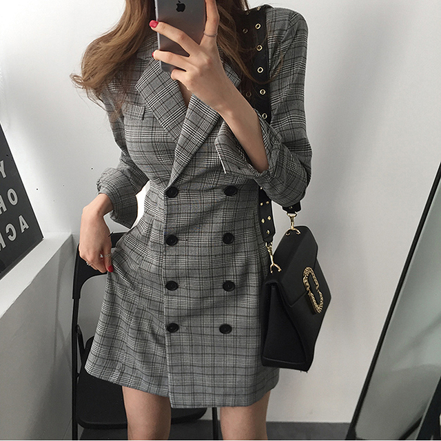 2018 Vintage Plaid Dress Women Notched Long Sleeve Double Breasted