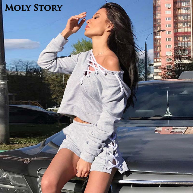 4e6fa83e3 Fashion Sexy Lace Up Crop Top & Shorts Sets Gray Hoody Sportwear Cropped  Hoodie and Shorts Two Piece Set