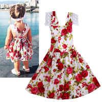Милое цветочное кружевное платье с цветочным рисунком для маленьких девочек летний сарафан повседневные пляжные платья с цветочным принто...