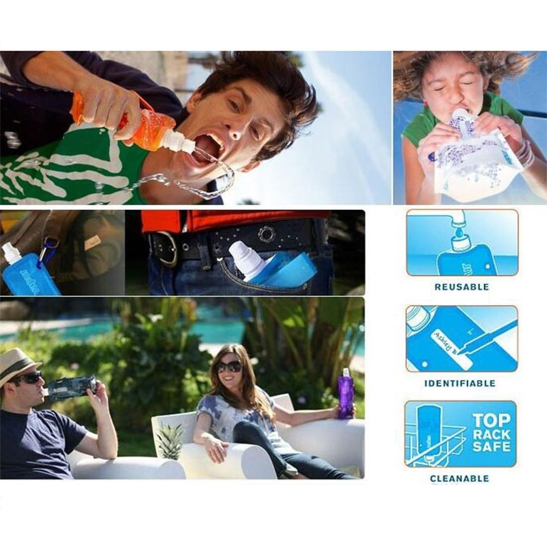 Лидер продаж 480 мл Портативный складная бутылка воды мешок льда Running Открытый спорт отдых Пеший Туризм разные цвета