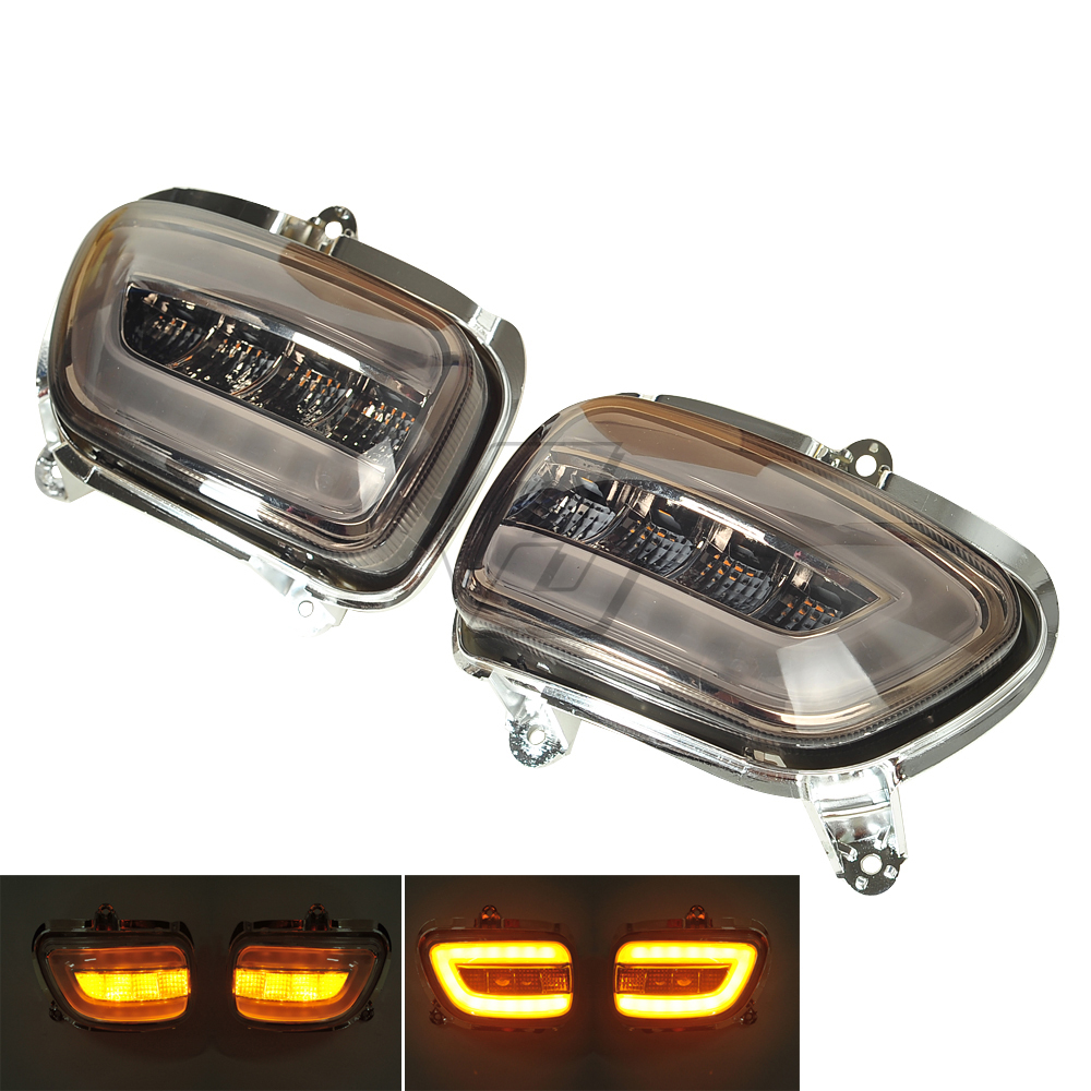 Smoke LED Motorcycle Front Side Turn Signal Lights Blinker Case for Honda Goldwing GL1800 F6B 2001-2017 front led turn signals smoke for honda goldwing gl1800 2001 2017 f6b 13 17 motorcycle