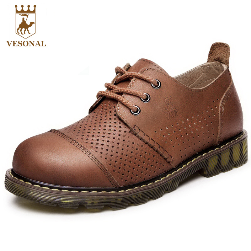 VESONAL New Comfortable Brand Man Casual Shoes Men Footwear Spring Autumn Breathable Soft Genuine Leather Walking For Male Shoes 1 pair fist walkers toddler shoes lovely new soft comfortable nice shoes for baby girls boy nice genuine leather spring red