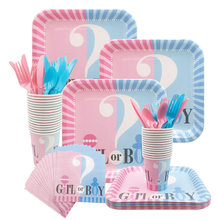 Gender Reveal Disposable Tableware Set Baby Shower Boy Or Girl Plate Napkin Tablecloth Gender Reveal Party Decorations Supplies(China)