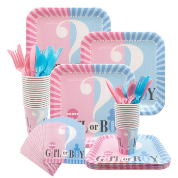 Gender Reveal Disposable Tableware Set Baby Shower Boy Or Girl Plate Napkin Tablecloth Party Decorations Supplies