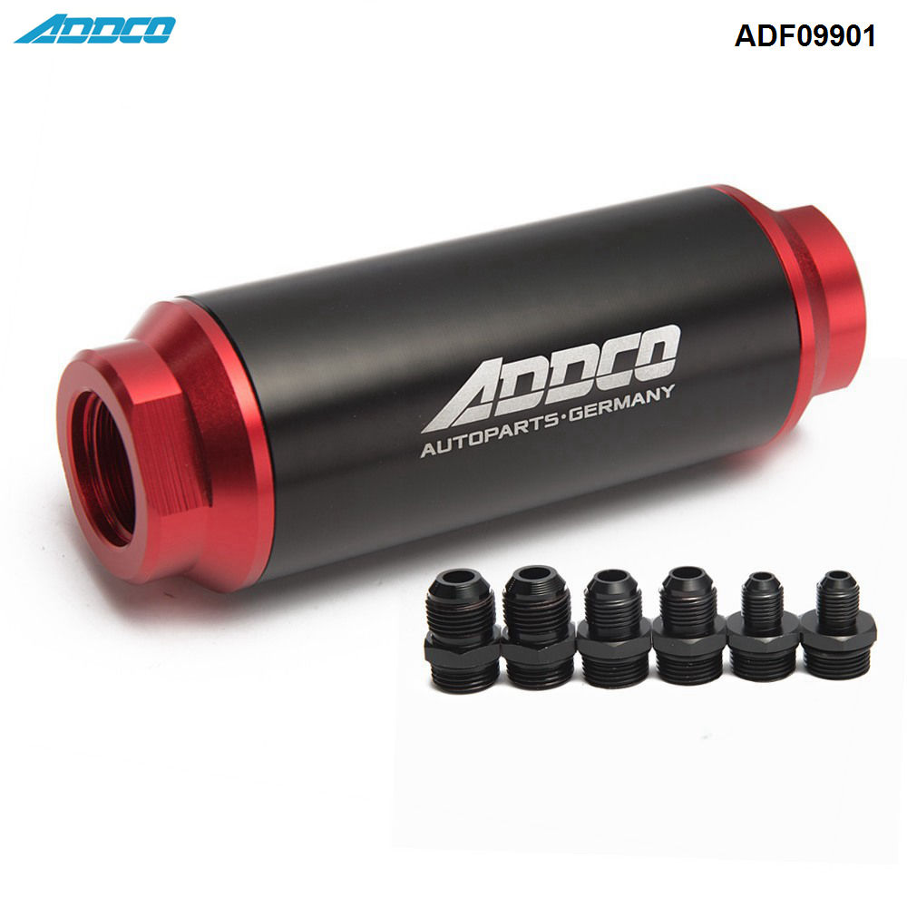 universal car racing in-line fuel oil filter with an10 an8 an6 fittings  adapter black&red