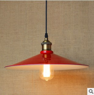America Loft Style Edison Vintage Pendant LIghts For Dinning Room With Red Lampshade ,Foscarini Industrial Lamps edison inustrial loft vintage amber glass basin pendant lights lamp for cafe bar hall bedroom club dining room droplight decor