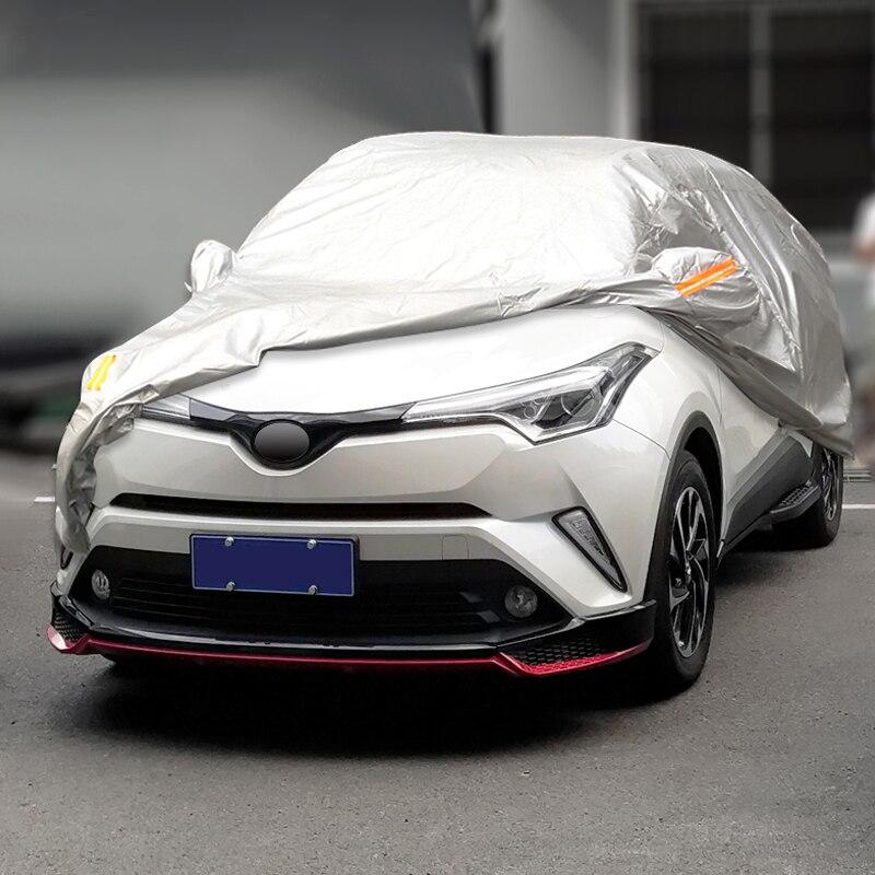 Épais tissu oxford Carrosserie Complet Couvre Pour Toyota C-HR 2018 Hiver Jaune Ligne Serrure bâche de voiture Pour Toyota C-HR 2017 2018 2019