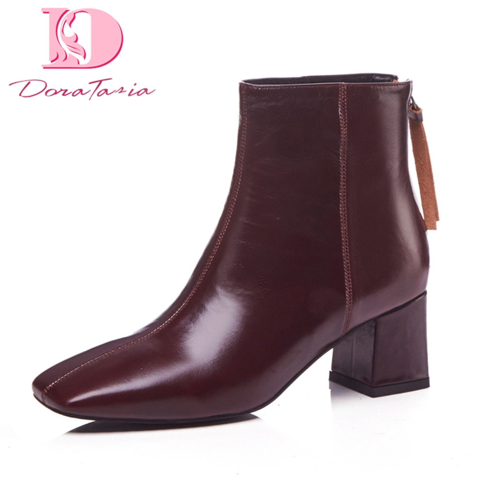 Doratasia Brand design genuine leather Large Size 33-42 Black Boots Woman Shoes High Heel Shoes Women Boots Female shoes bootsDoratasia Brand design genuine leather Large Size 33-42 Black Boots Woman Shoes High Heel Shoes Women Boots Female shoes boots