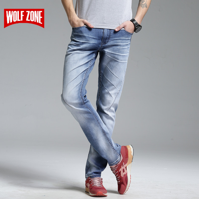 Top Fashion Brand New Design Jeans Men Stretch Denim Mens Pants Zip Fly Biker Jean Male Long Trousers Blue Full Length Mid