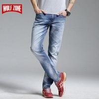 Top Fashion Brand New Design Jeans Men Stretch Denim Mens Pants Zip Fly Biker Jean Male Long Trousers Blue Full Length Mid