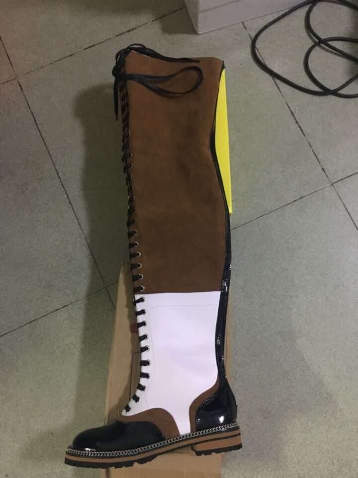 Mixed Colors Femmes Suede And Leather Flat Over The Knee Woman Lace-Up Motorcycle Thigh High Bottines Zipper Botas Camperas Muje