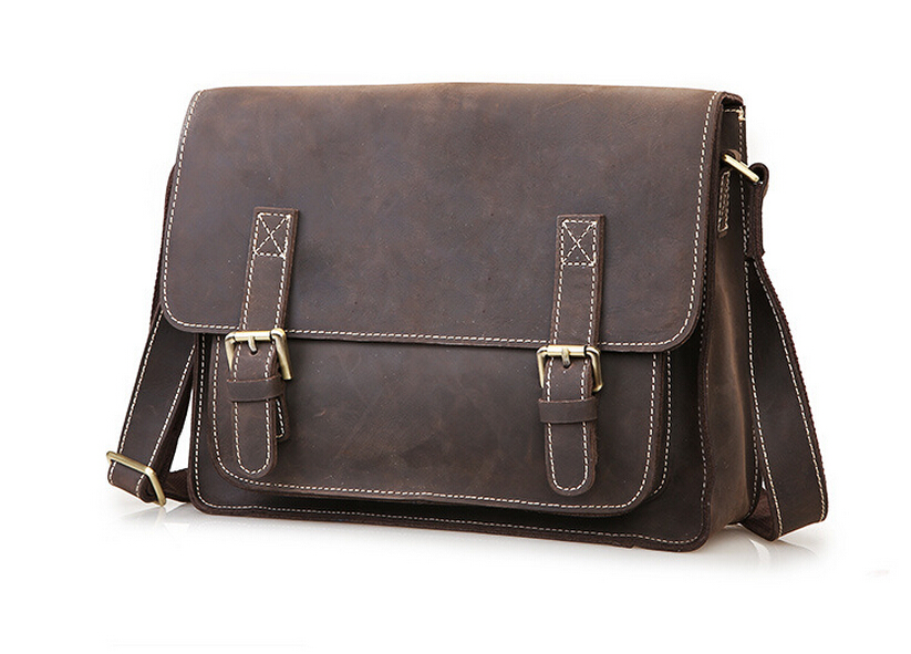 Retro Crazy Horse Genuine Leather Men Bag Men's Leather Bag Men Messenger Bags Shoulder Crossbody Bags Man Handbag Briefcase 545 ms crazy horse genuine leather men bag men s leather bag men messenger bags shoulder crossbody bags man handbag briefcase tw2011