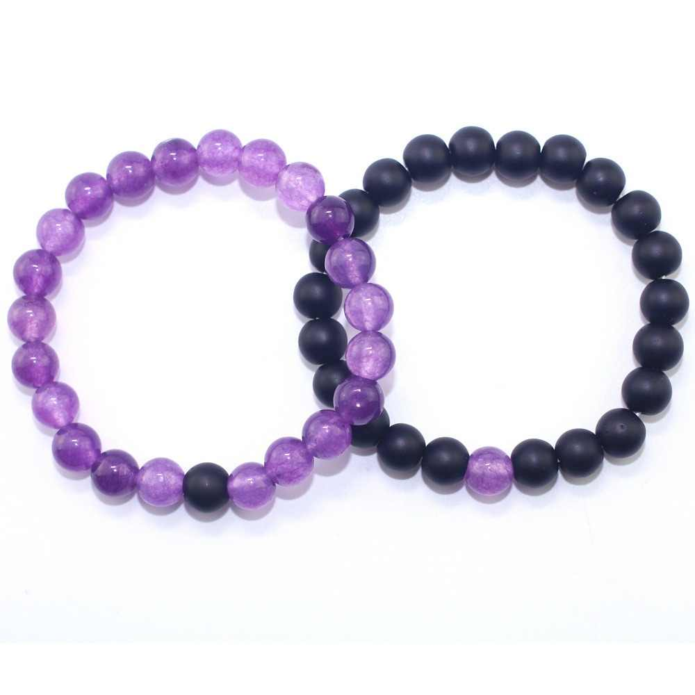 Fashion Women Jewelry Natural Stone Beaded Bracelets Purple Crystal Beads matte Beads Couples Bracelet Christmas Gifts