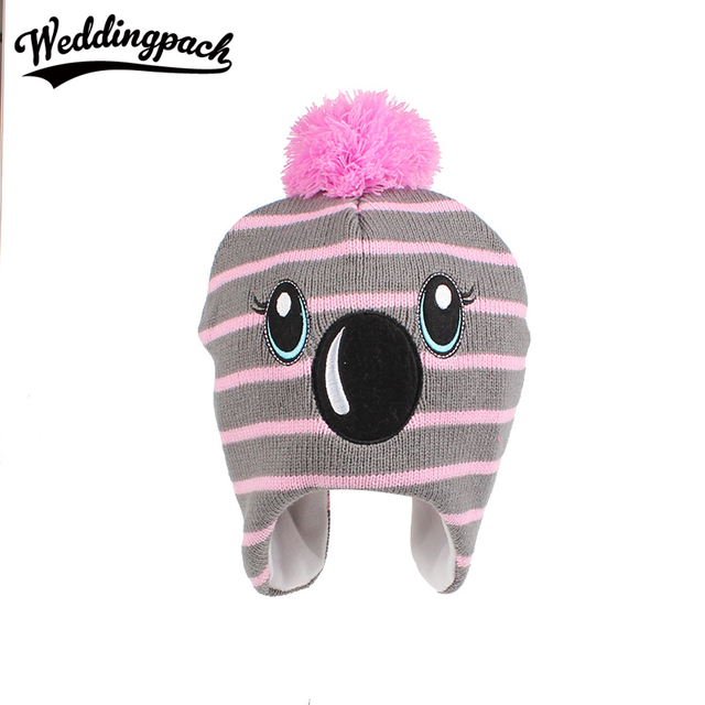 5140baee7a9 Cartoon Kids Beanie Hats Cotton Boys Knitted Hat With Pom Pom Autumn Winter  Embroidery Girls Hats New Big Eyes Children Skullies