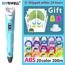Myriwell 3d penna 3d penne, 1.75mm ABS/PLA Filamento, 3d modello di, 3d stampante pen 3d penna magica, penna di Bambini regalo Di Natale regalo di compleanno