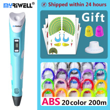 myriwell 3d pen 3d pens,1.75mm ABS/PLA Filament, 3d model,3d printer pen-3d magic pen,Kids Christmas present birthday present цена 2017