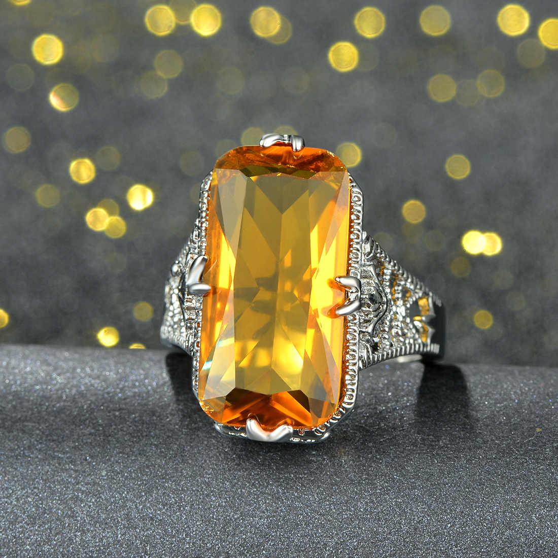 2018 moda criada quadrado amarelo anel de cristal clássico oco para fora anéis para presente de casamento feminino jóias finas