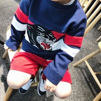 children clothing kids sweatshirts boy sweatshirt Leopard head embroidery cotton tops Good quality boys clothes