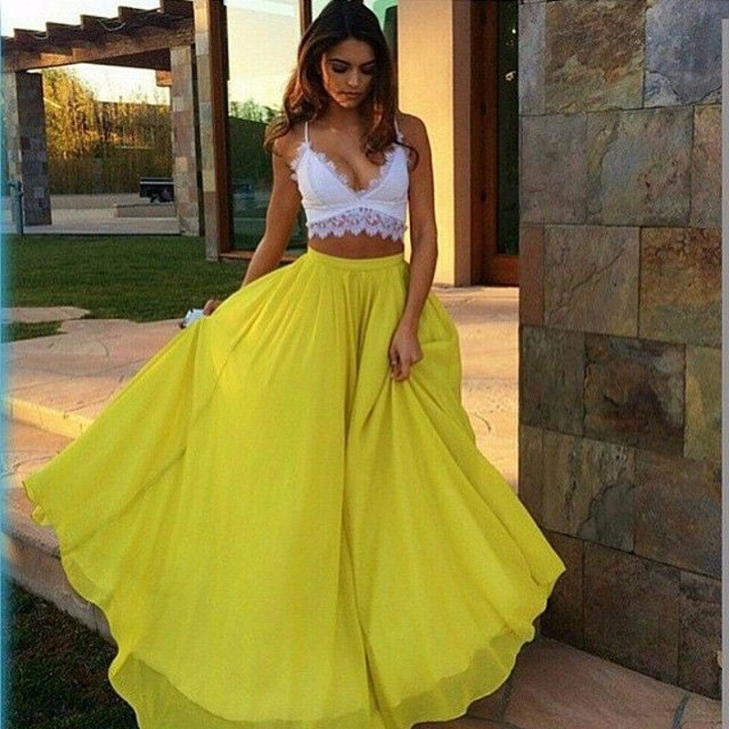 858525188 Summer Long Maxi Skirt Personalized A Line Floor Length Chiffon Skirt Sexy  Beach Style Yellow Skirts Women