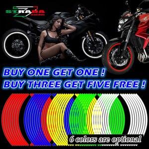 Newbee 16 Pcs Strips Motorcycle Wheel Sticker Reflective Decals Rim Tape Bike Car Styling For YAMAHA HONDA SUZUKI Harley BMW