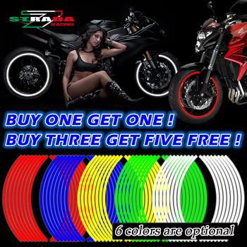 Newbee 16 sztuk paski motocykl koła naklejki odblaskowe naklejki obręczy taśmy rower Car Styling dla YAMAHA HONDA SUZUKI Harley BMW tanie i dobre opinie 0 02cm 18inch Reflective material 00x00 Iso9001