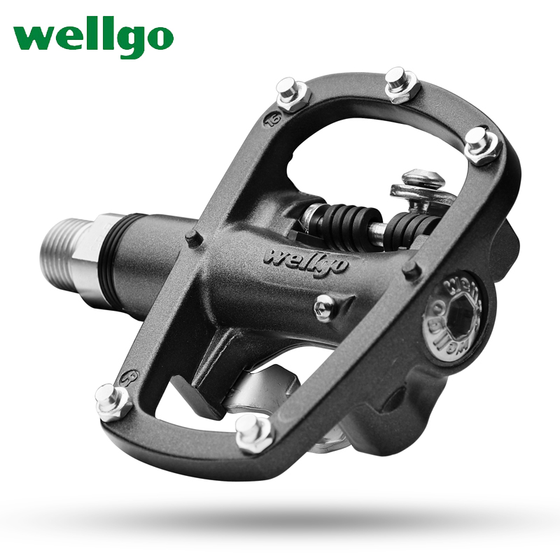 Wellgo R120B MTB Mountain Bike Clipless Pedals With Cleats SPD Compatible Bicycle Aluminum alloy Auto-lock self-locking pedal wellgo wm001 mtb mountain bike clipless pedals cycling aluminum alloy high quality road bicycle pedal
