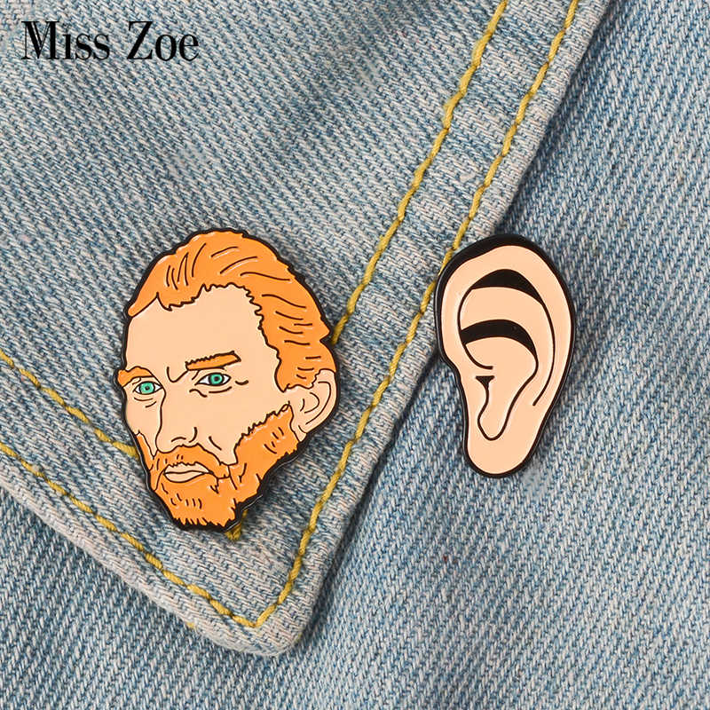 Vincent van Gogh Ear Enamel Pin Historical Painter Badge brooch Lapel pin Shirt bag Collar Artist Jewelry Gift for Friends