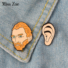 Vincent van Gogh Ear Enamel Pin Historical Painter Badge brooch Lapel pin Shirt bag Collar Artist Jewelry Gift for Friends(China)