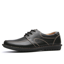 LAISUMK New Fashion Men Casual Leather Shoes Genuine Mens Flats Black Brown Soft Comfort Business Dress