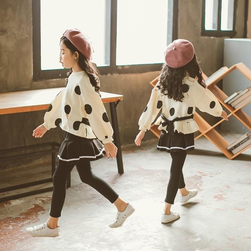 school cotton 2018 teenage girls clothes children clothing set pants sets sweatshirt tops pants kids girls clothes suit autumn wings print sweatshirt and pants