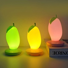 JXSFLYE Creative Mango Shaped Small Night Light USB Charging Dimmable LED Lights Home Decor Bedside Lamp for Kids Fruit