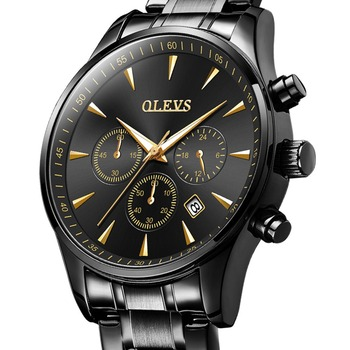 OLEVS Chronograph Mens Watches Top Brand Luxury Black Full Steel Wrist Watch For Men Luminous Male Clock Military relojes hombre