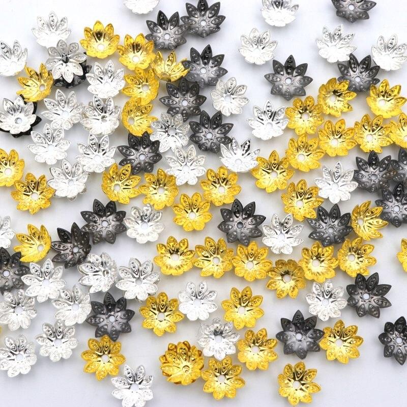 100 Pcs Gemischt 8 Blumenblatt-blumen Metall Perlen End Kappen Für Schmuck Finden Diy Zubehör Komponente Hand Großhandel Diversifizierte Neueste Designs