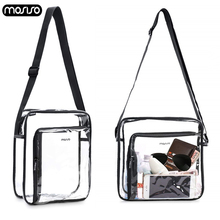 MOSISO Transparent PVC Shoulder Bags Women Clear Crossbody Bag Purse Solid Color Large Capacity Messenger Shopping Travel